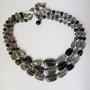 3 Strand 1950s Purple & Green Glass Bead Necklace